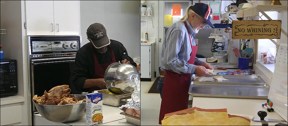 2015 Thanksgiving Lunch: Chef Gerry makes final preparations for lunch while Bill makes the crescent rolls.